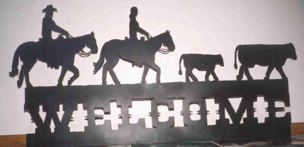 Horse, Rider And Cattle Welcome Sign
