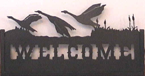 Geese Flock Welcome Sign